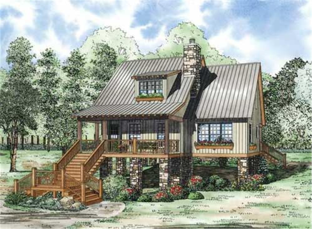 This is a colored rendering of these Vacation Home Plans.