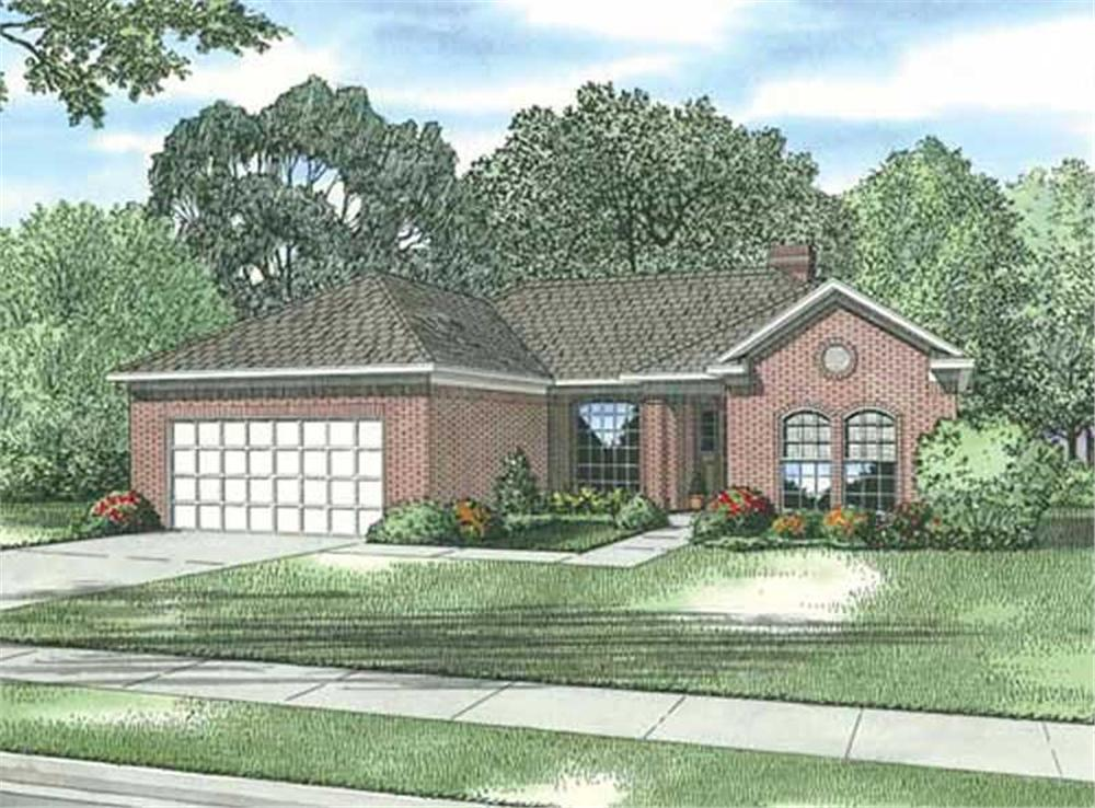 Front elevation of a small ranch home (ThePlanCollection: House Plan #153-1072)