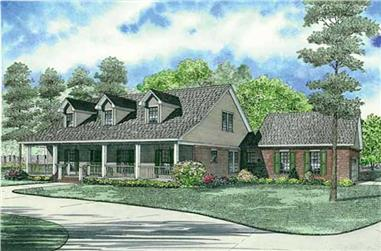 4-Bedroom, 2523 Sq Ft Country Farmhouse Plan - 153-1073 - Front Exterior