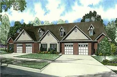 3-Bedroom, 1900 Sq Ft Multi-Unit House Plan - 153-1074 - Front Exterior