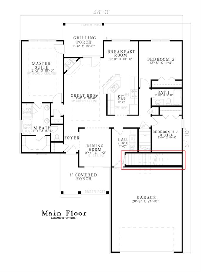 split bedroom.  153 1076 Floor Plan Main Level Craftsman House Plans Home Design NDG 1341B
