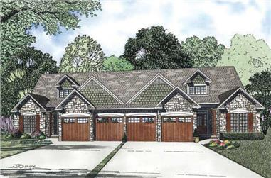 4-Bedroom, 1875 Sq Ft Per Unit Multi-Unit Home Plan - 153-1081 - Main Exterior