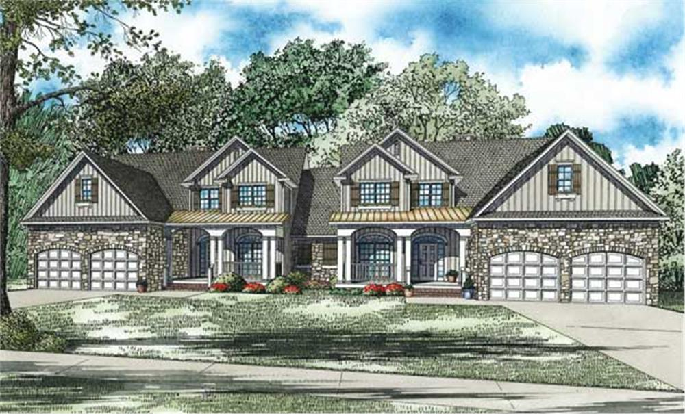 This is the front elevation for these Duplex Home Plans.