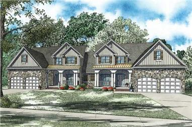 4-Bedroom, 2500 Sq Ft Multi-Unit House Plan - 153-1082 - Front Exterior
