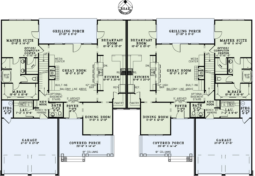 Multi unit house plan 153 1082 4 bedrm 2500 sq ft per for Multi unit home plans