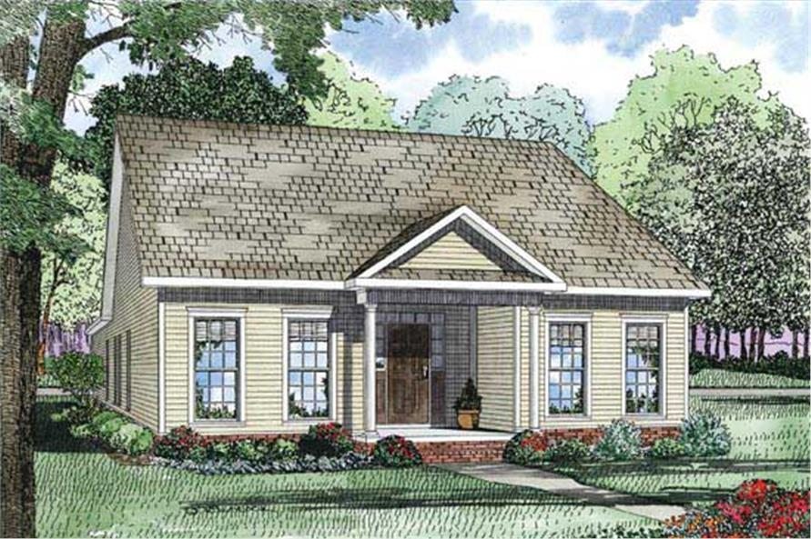This is an artist's rendering of these Traditional Country Home Plans.