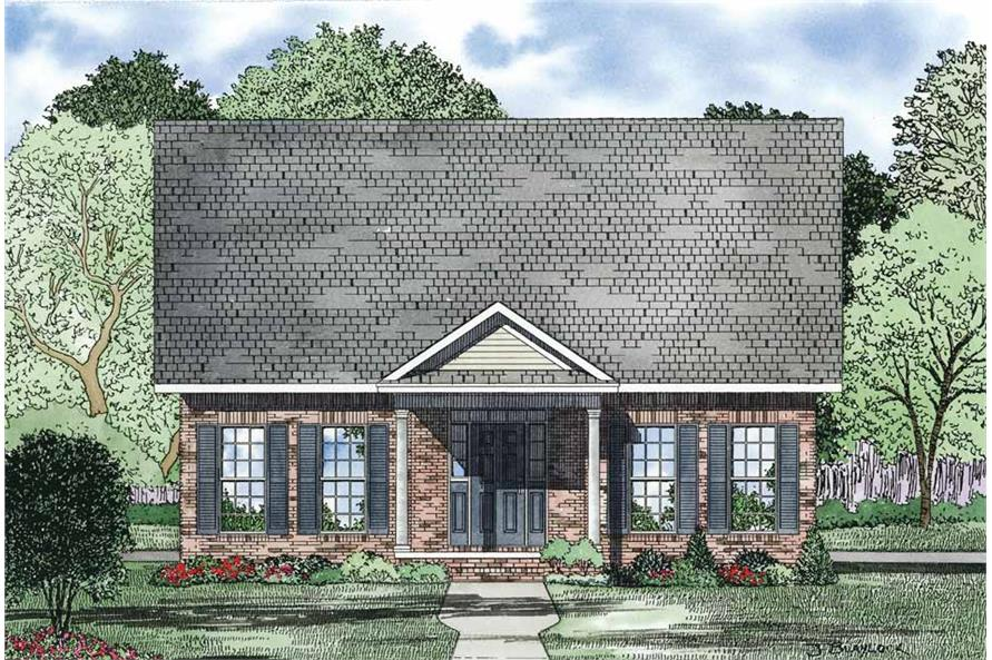 Home Plan Front Elevation of this 3-Bedroom,1734 Sq Ft Plan -153-1083