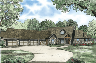 3-Bedroom, 4080 Sq Ft Country Home Plan - 153-1089 - Main Exterior