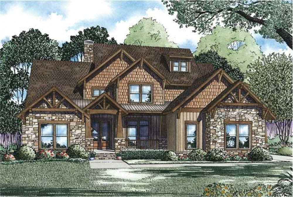 Front elevation of Country home (ThePlanCollection: House Plan #153-1092)