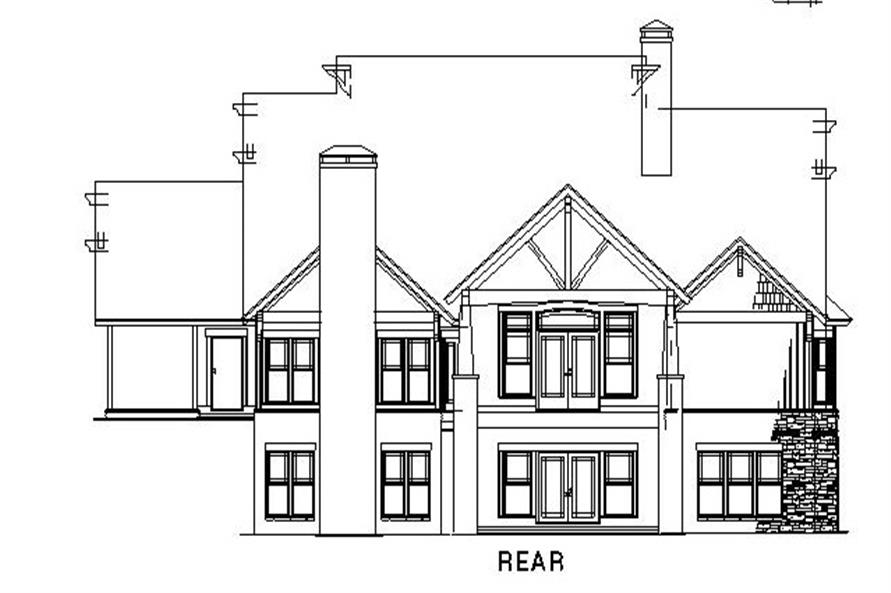 Home Plan Rear Elevation of this 4-Bedroom,3783 Sq Ft Plan -153-1092
