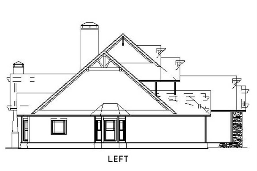 Home Plan Left Elevation of this 4-Bedroom,3783 Sq Ft Plan -153-1092