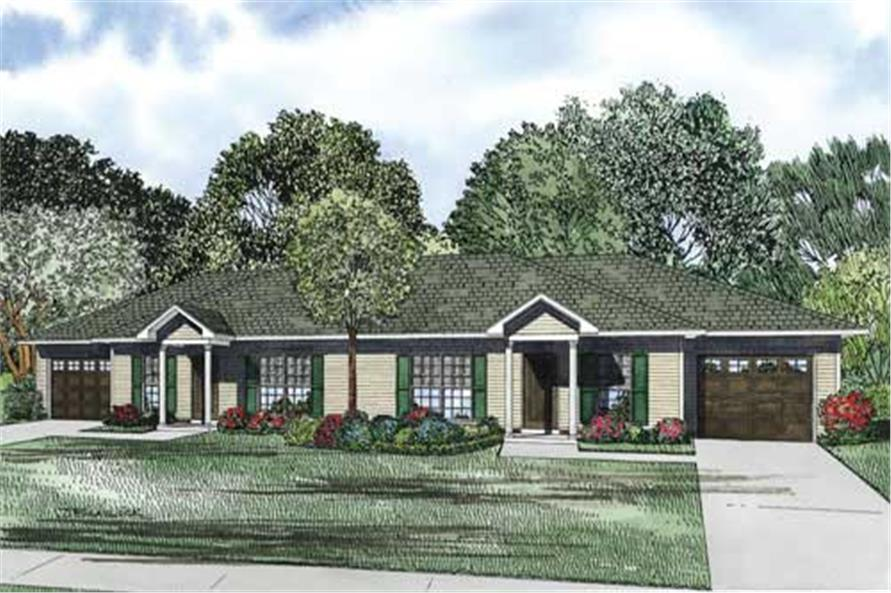 Home Plan Front Elevation of this 2-Bedroom,1704 Sq Ft Plan -153-1093