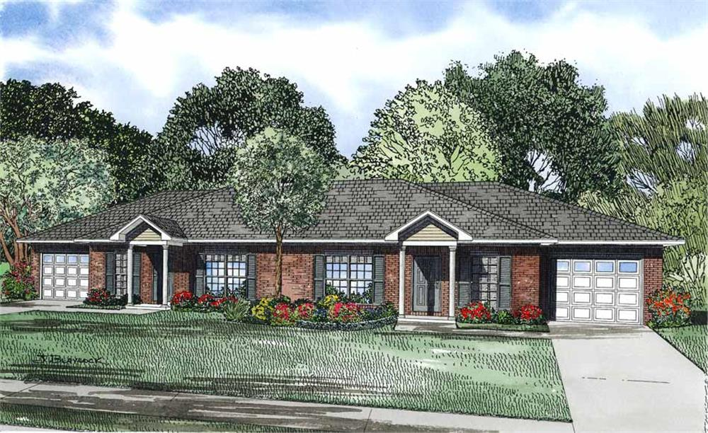 Front elevation of Multi-Unit home (ThePlanCollection: House Plan #153-1093)