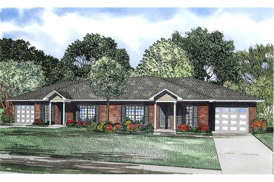 2-Bedroom, 852 Sq Ft Multi-Unit Home Plan - 153-1093 - Main Exterior