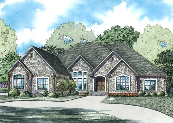 This is the front elevation for these French House Plans.