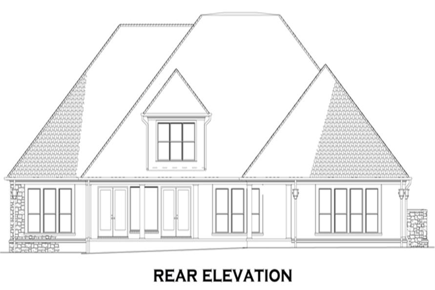 Home Plan Rear Elevation of this 4-Bedroom,3766 Sq Ft Plan -153-1095