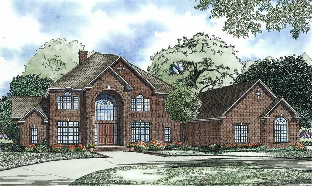 Front elevation of European home (ThePlanCollection: House Plan #153-1096)