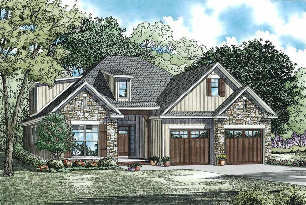 Front elevation of Craftsman home (ThePlanCollection: House Plan #153-1099)