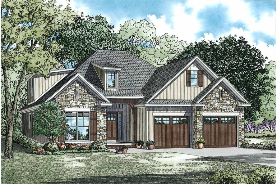 3-Bedroom, 2457 Sq Ft Craftsman House Plan - 153-1099 - Front Exterior