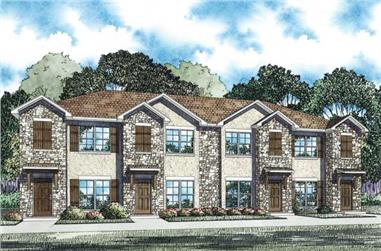 2-Bedroom, 1053 Sq Ft Multi-Unit House Plan - 153-1100 - Front Exterior