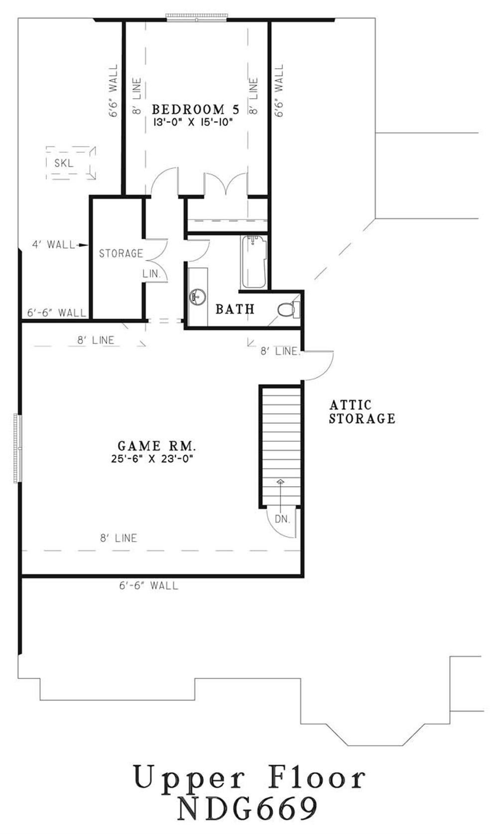 Upper Floor Plan NDG-669