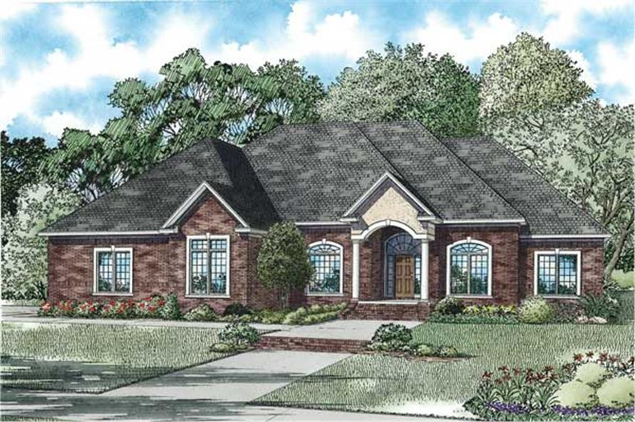 4-Bedroom, 3445 Sq Ft European House Plan - 153-1104 - Front Exterior