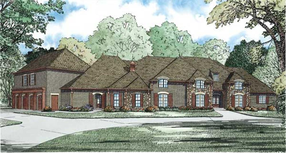 Front elevation of European home (ThePlanCollection: House Plan #153-1107)