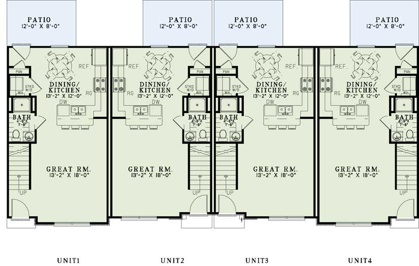 Multi unit home plans home design 1358 for Multi unit home plans