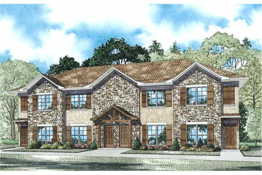 2-Bedroom, 1040 Sq Ft Multi-Unit House Plan - 153-1108 - Front Exterior
