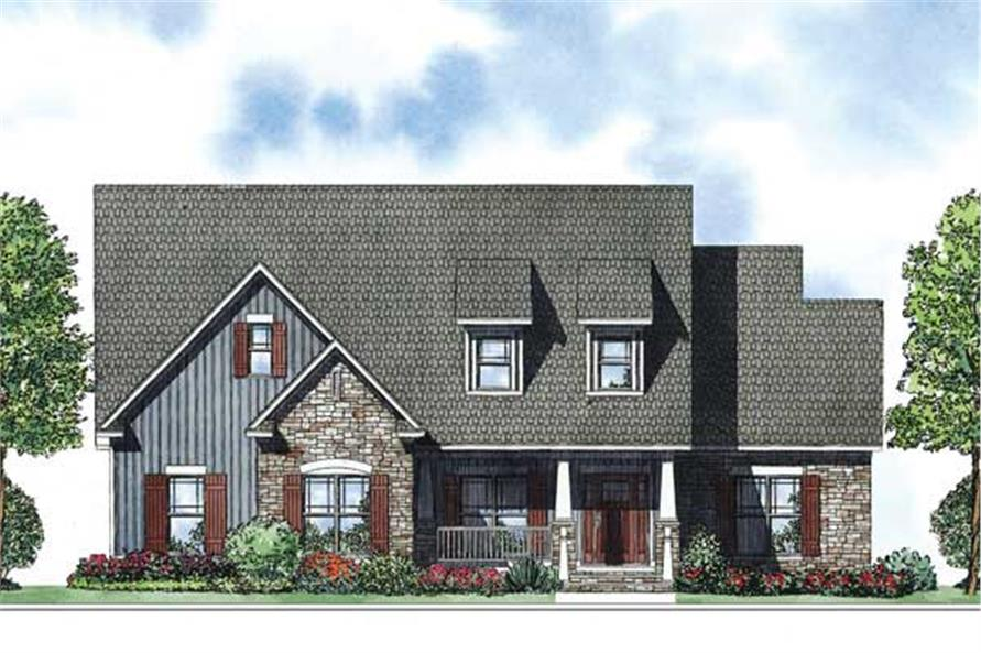 This is the front elevation for these Traditional Craftsman House Plans.