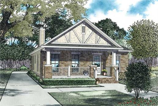 This is the front elevation for these Bungalow Home Plans.