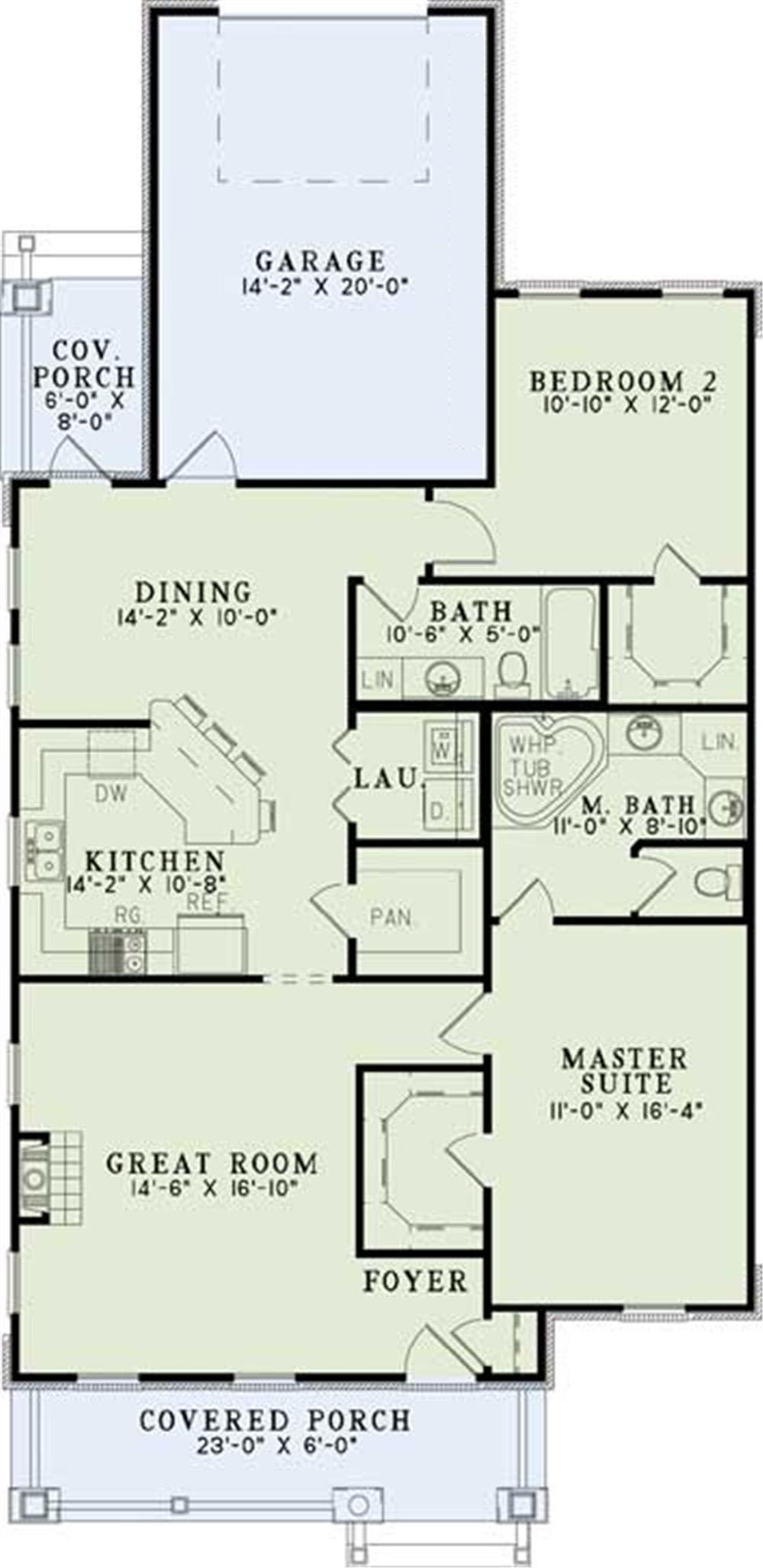 Bungalow House Plan 2 Bedrms 2 Baths 1309 Sq Ft
