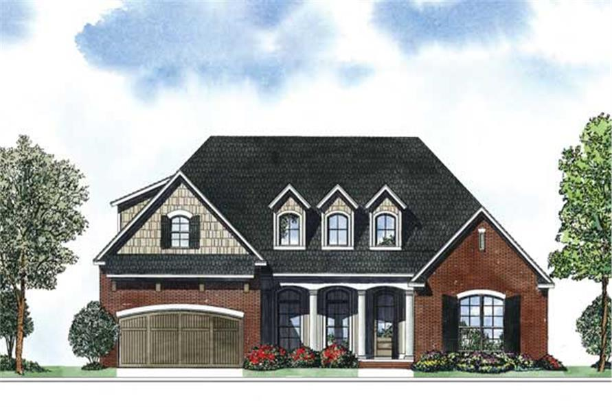 This is a colored front elevation for these Ranch House Plans.