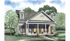 This is a beautiful rendering of these Country House Plans.