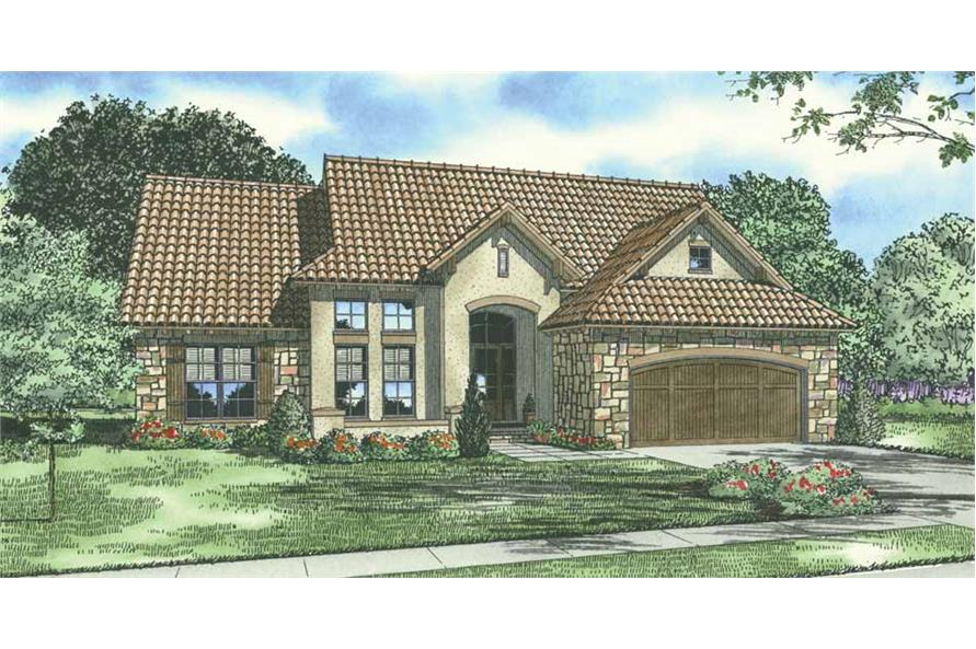 4-Bedroom, 2338 Sq Ft Tuscan House Plan - 153-1120 - Front Exterior
