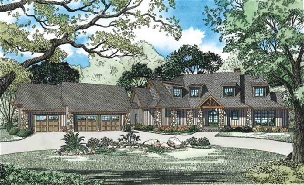 This is an artist's rendering for these Luxury Craftsman Home Plans.
