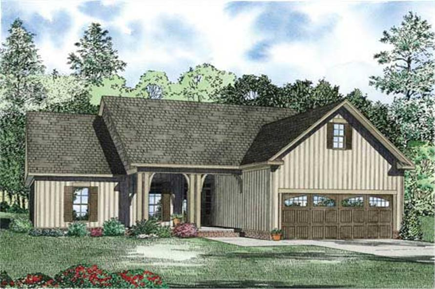 This is a colored elevation of these Traditional Homeplans.