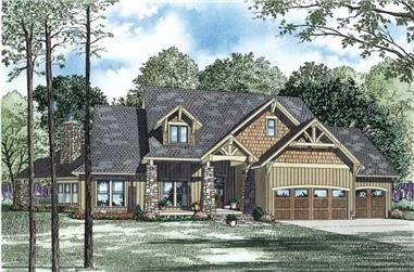 This is the front elevation for these Craftsman House Plans.