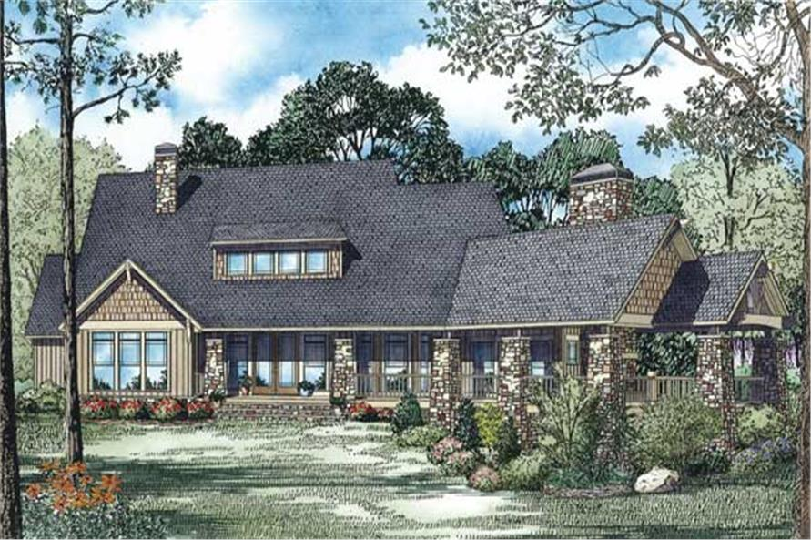 Home Plan Rear Elevation of this 4-Bedroom,3345 Sq Ft Plan -153-1123