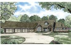 This is an artist's rendering of these Country Ranch House Plans.