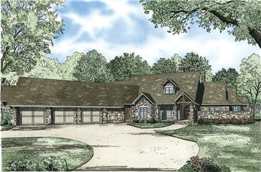 3-Bedroom, 4080 Sq Ft Country Home Plan - 153-1124 - Main Exterior