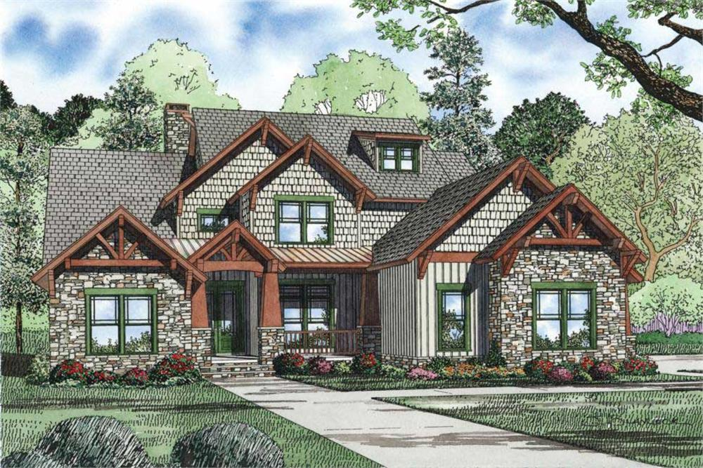 Front elevation of Craftsman home (ThePlanCollection: House Plan #153-1126)