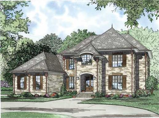 This is a colorful front elevation of these Luxury European House Plans.