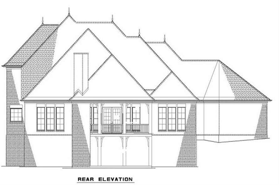 Home Plan Rear Elevation of this 5-Bedroom,3601 Sq Ft Plan -153-1127