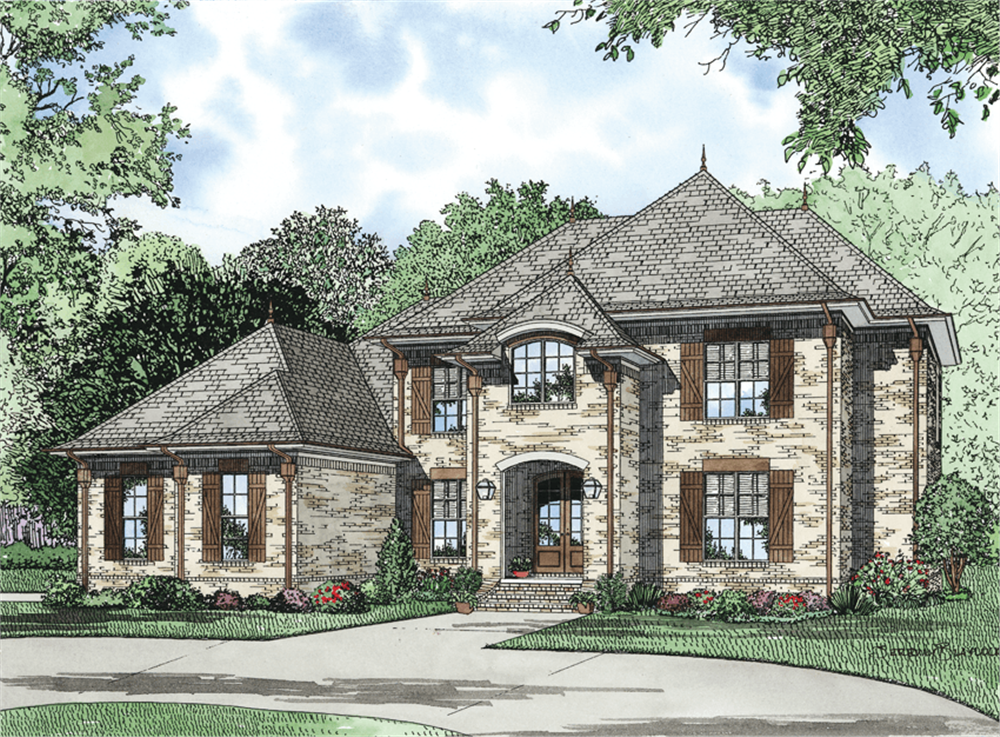 Front elevation of European home (ThePlanCollection: House Plan #153-1127)