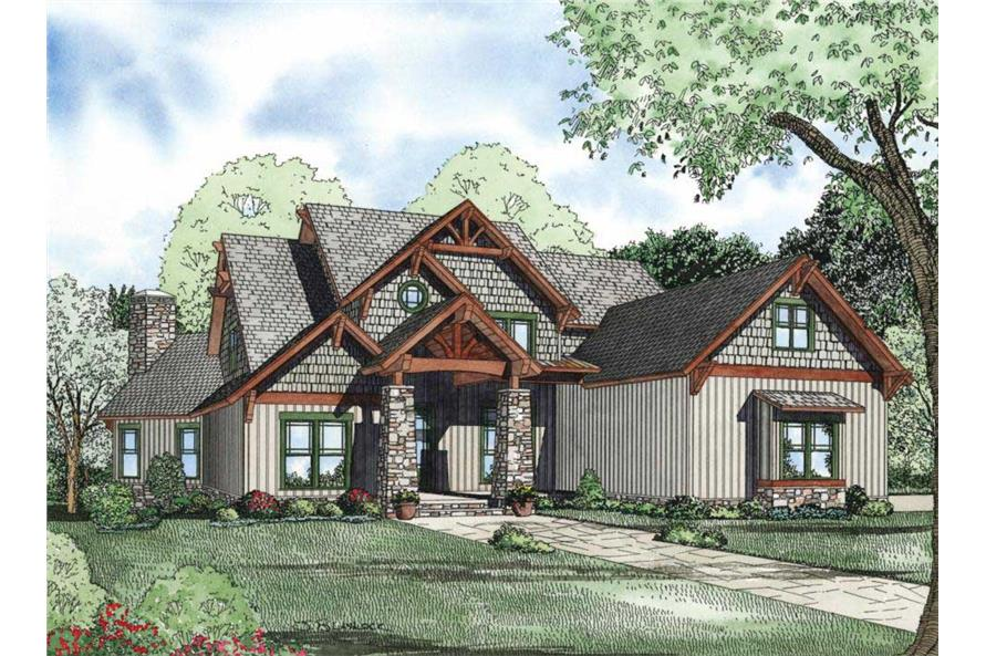 5–6-Bedroom, 5051 Sq Ft Rustic House - Plan #153-1128 - Front Exterior