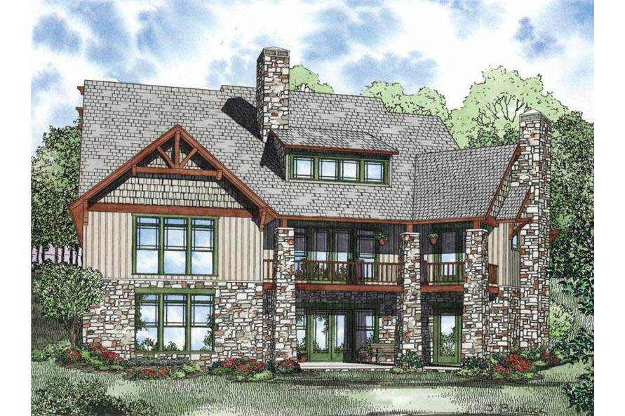 Home Plan Rear Elevation of this 6-Bedroom,4992 Sq Ft Plan -153-1128
