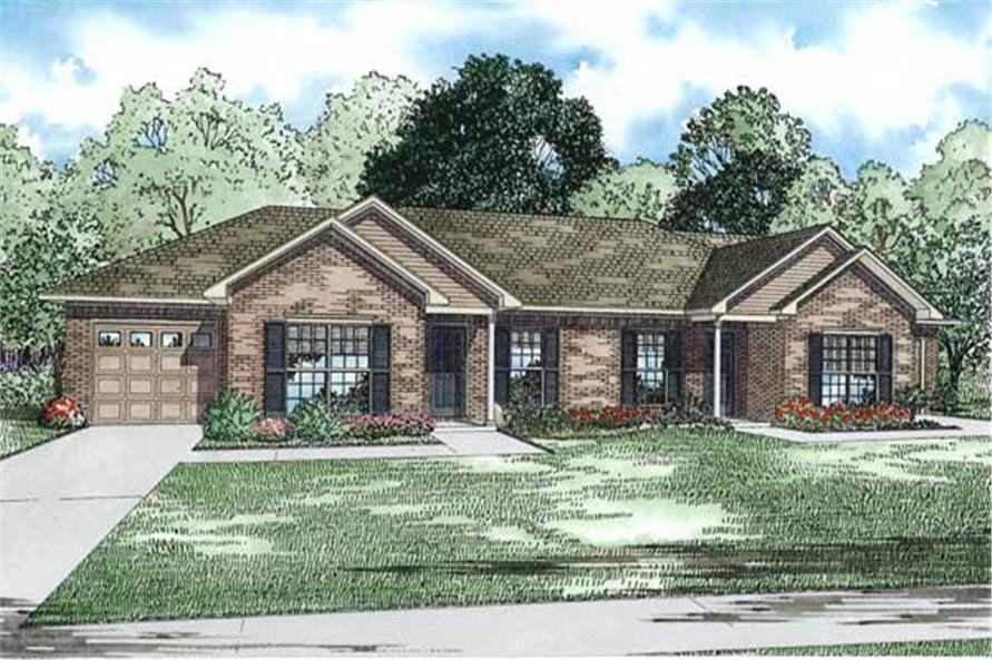 This is an artist's rendering of these Duplex House Plans.