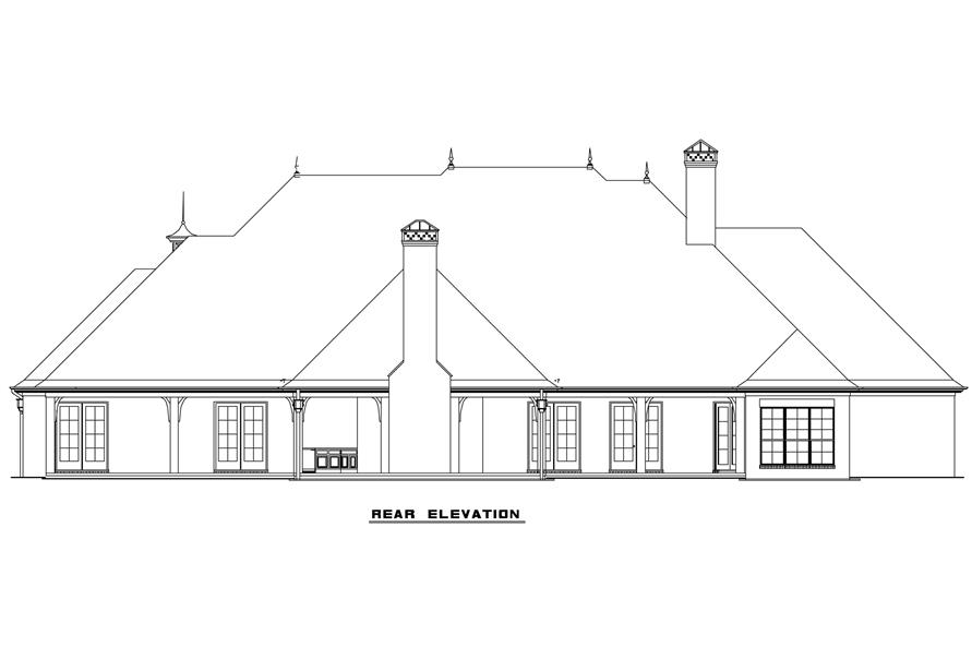 Home Plan Rear Elevation of this 4-Bedroom,4810 Sq Ft Plan -153-1130
