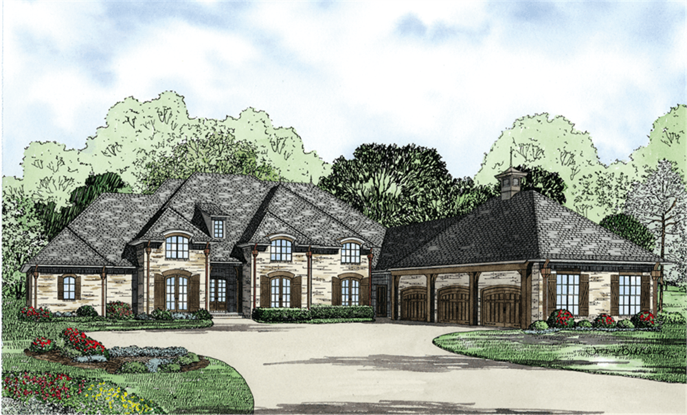 European style luxury home (ThePlanCollection: House Plan #153-1130)